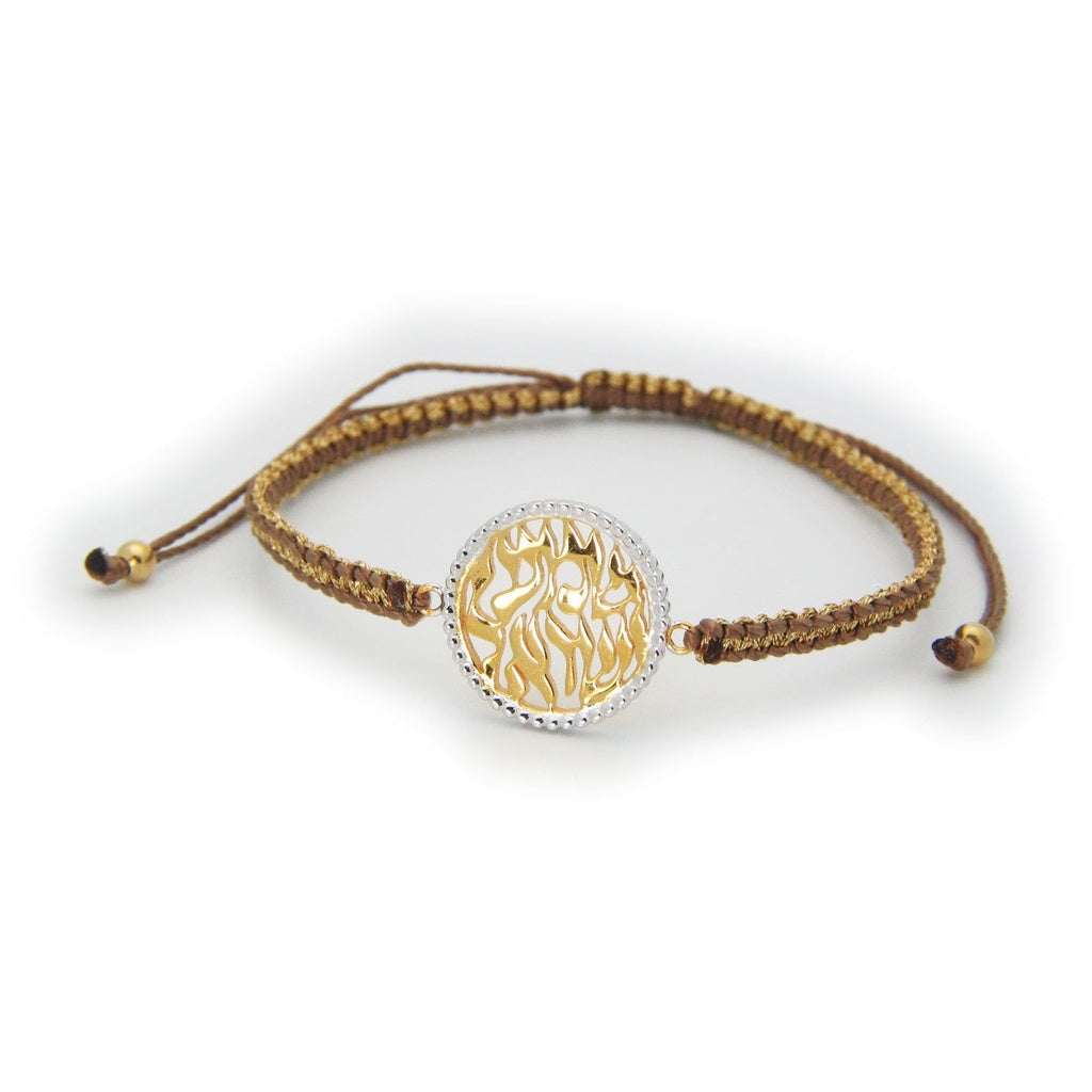 Shema Israel Disc Bracelet Brown & Gold