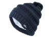 Fear0 Plush Insulated Extreme Cold Gear Black Knit Pom Beanie Hat Womens Girls