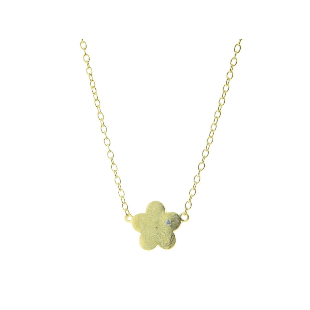 Satin Gold Graffiato Flower Pendant Necklace, 16 inches long