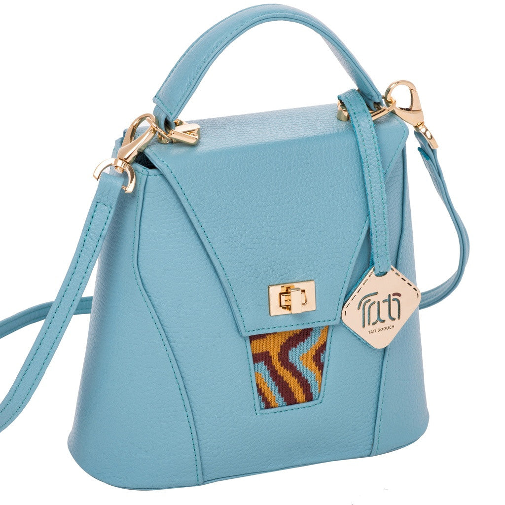 TATI BODUCH Designer Handbag, AGATE Mini Collection, genuine leather: turquise, knitwear: turquise