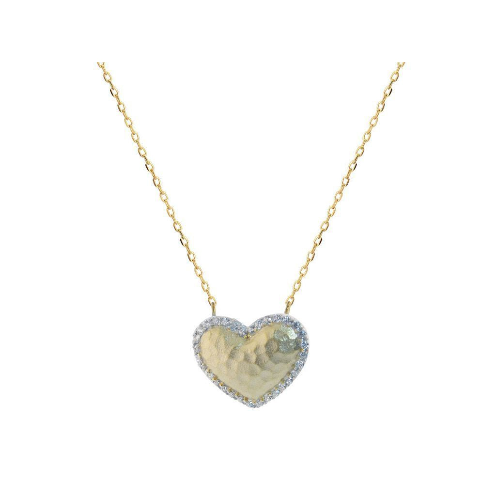 "Sparkling CZ Hammered Golden Heart Necklace in Sterling Silver, 16"" + 2"" Extender"