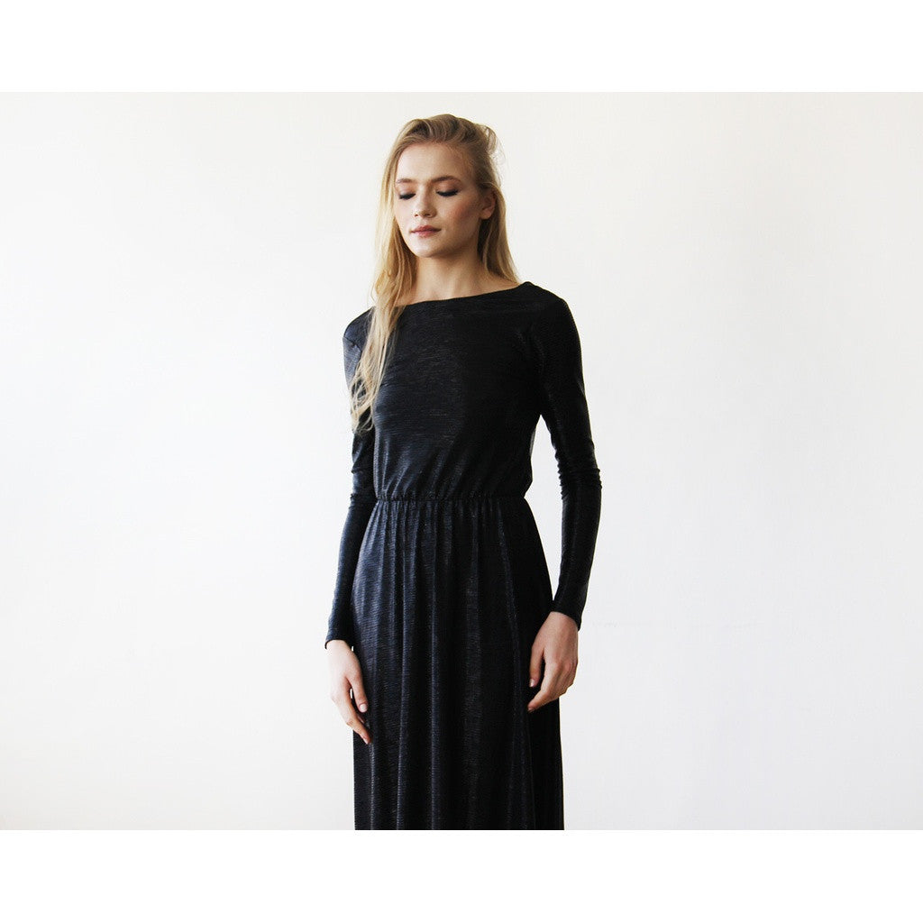 Metallic Black Backless Maxi Dress with long sleeves 1041