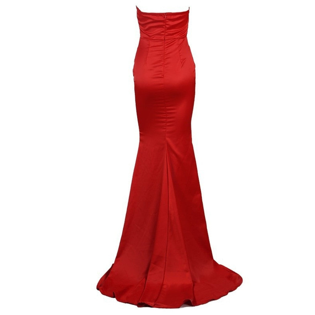 Strapless Red Evening Gown