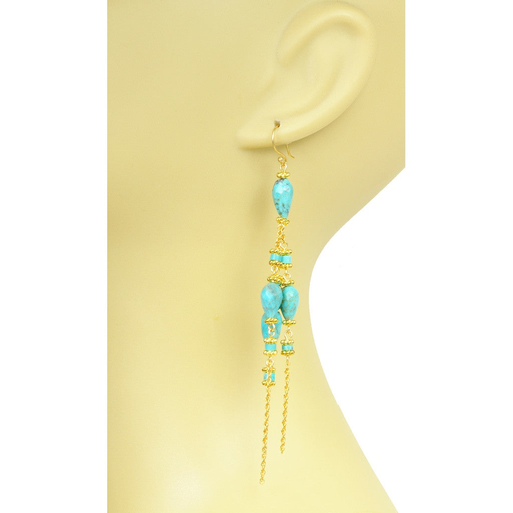 Turquoise Linear Chandelier Earrings