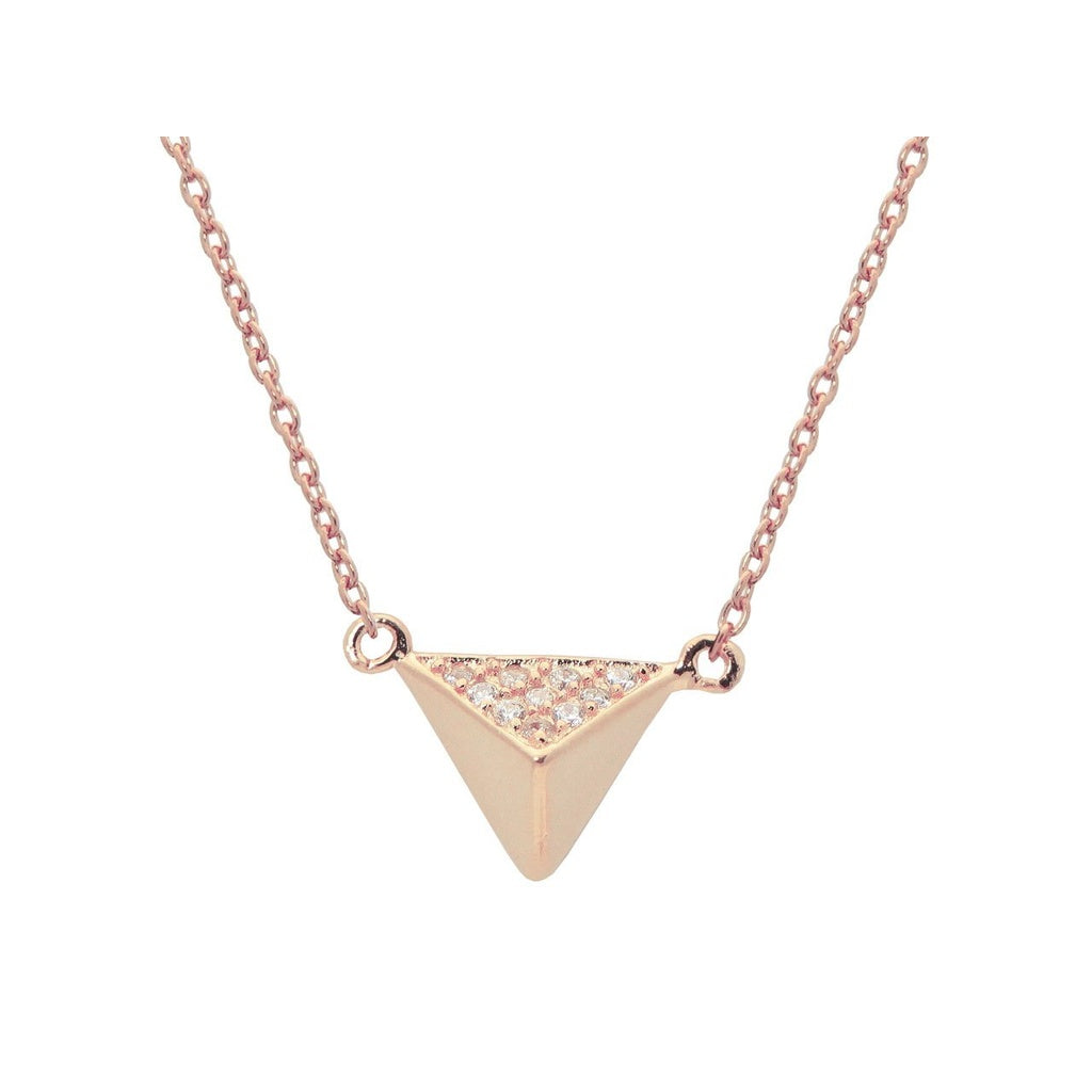 "Silver Rose Plated Triangle Pyramid Pendant Necklace 15"" + 1"" Cz Side  .9mm"