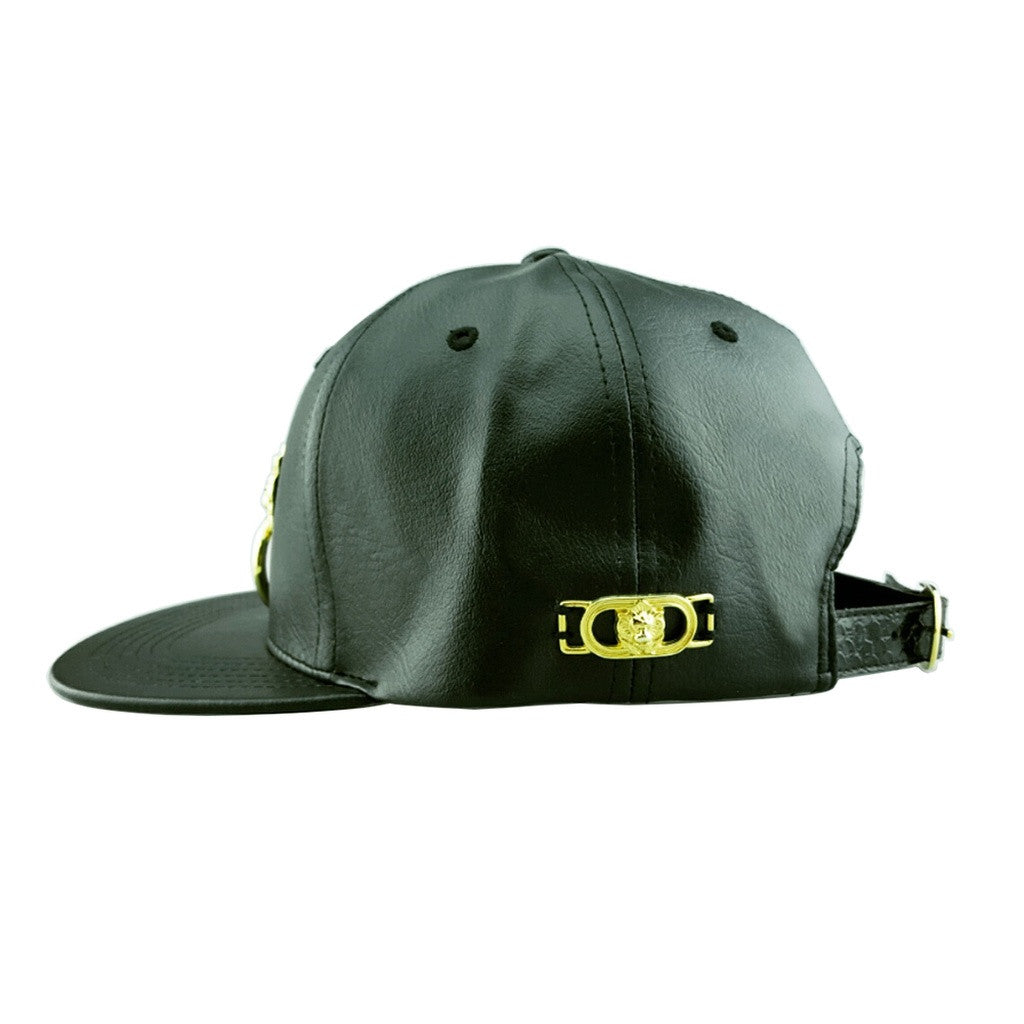 Faux Leather Snapback Hat