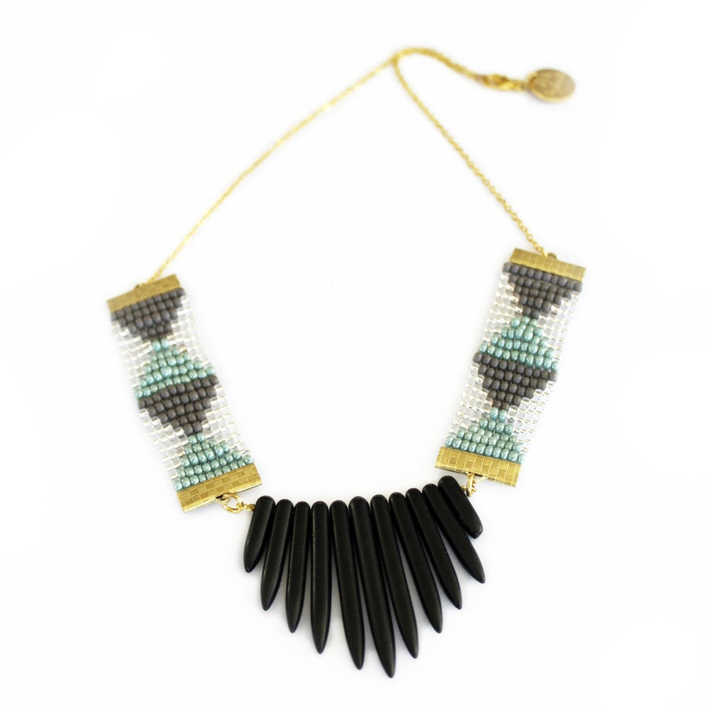 Adorn Necklace (Grey and green with black spikes)