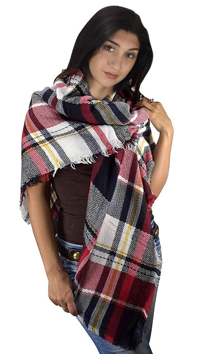Multicolor Tartan Plaid Oversized Blanket Scarf Shawl Wrap Poncho