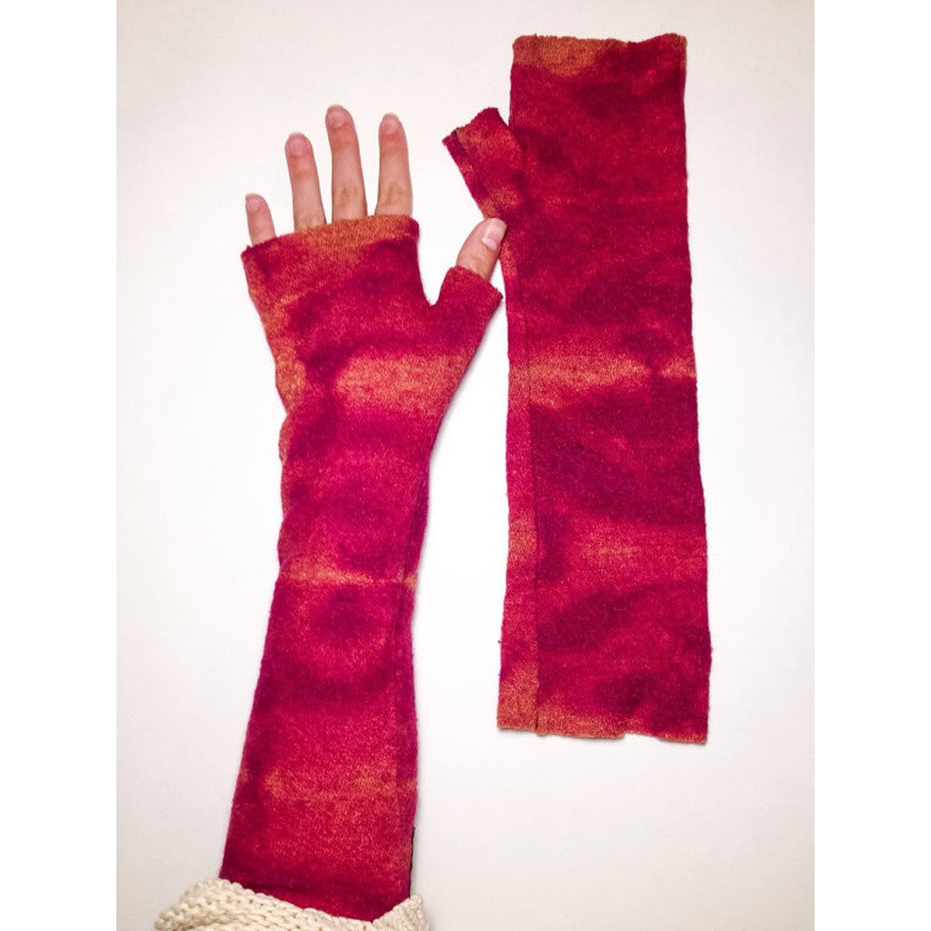 Fuchsia Wool Long Fingerless Gloves