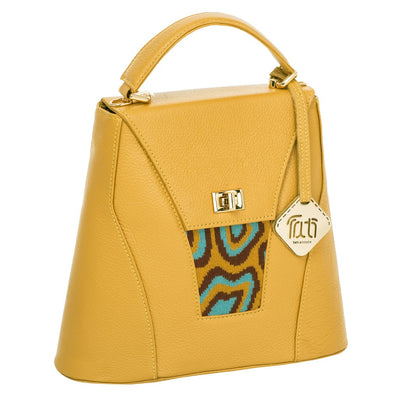 TATI BODUCH Designer Handbag, AGATE Collection, genuine leather: mustard, knitwear: turquoise