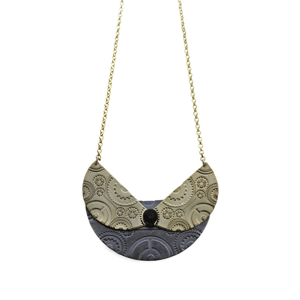 Kinetic Wheel Necklace- Black and Gold