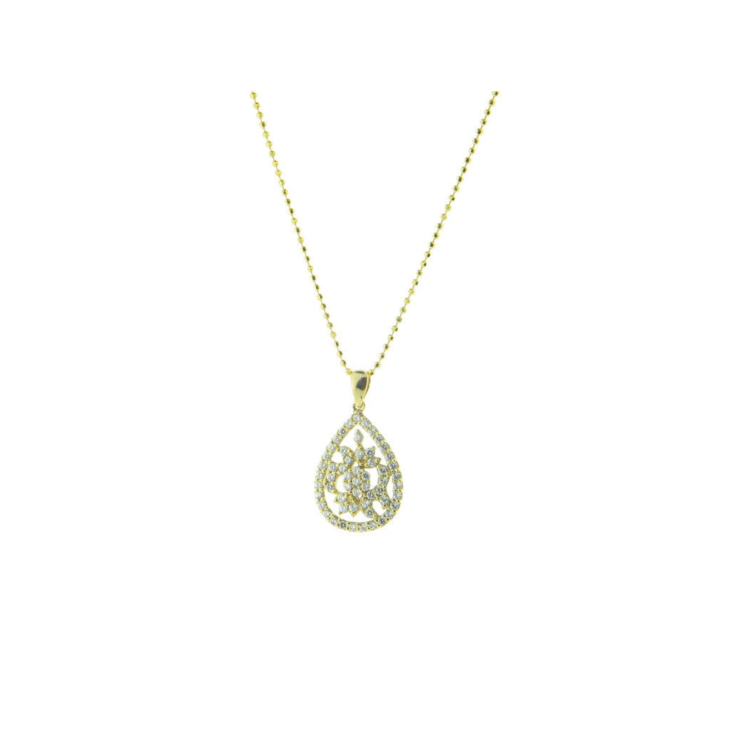 Marquise Diamond Cut CZ Pendant Necklace, 16""
