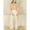 Button–embellished Flared Pants in Beige
