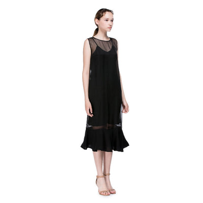 Black Round Neck Flounced Dress