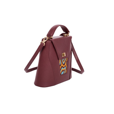 TATI BODUCH Designer Handbag, AGATE Collection, genuine leather: brown, knitwear: turquoise