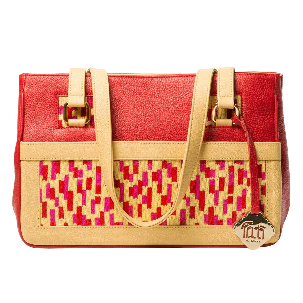 TATI BODUCH Designer Handbag, Mosaic Collection, leather red