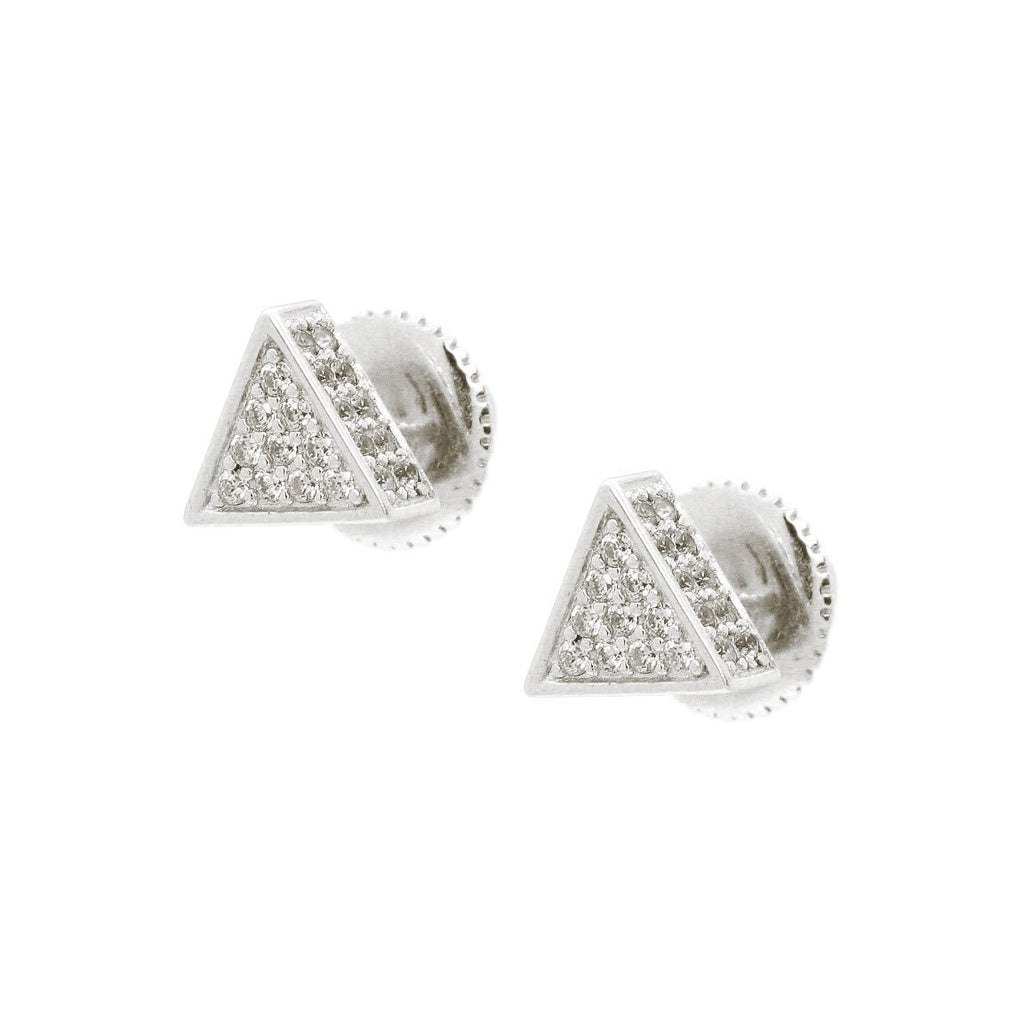 Fronay Co, Platinum Plated 3D Micro Pave Triangle Stud Earrings