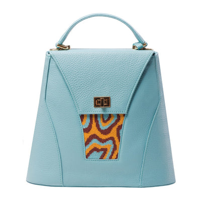 TATI BODUCH Designer Handbag, AGATE Collection, genuine leather: turquise, knitwear: turquise