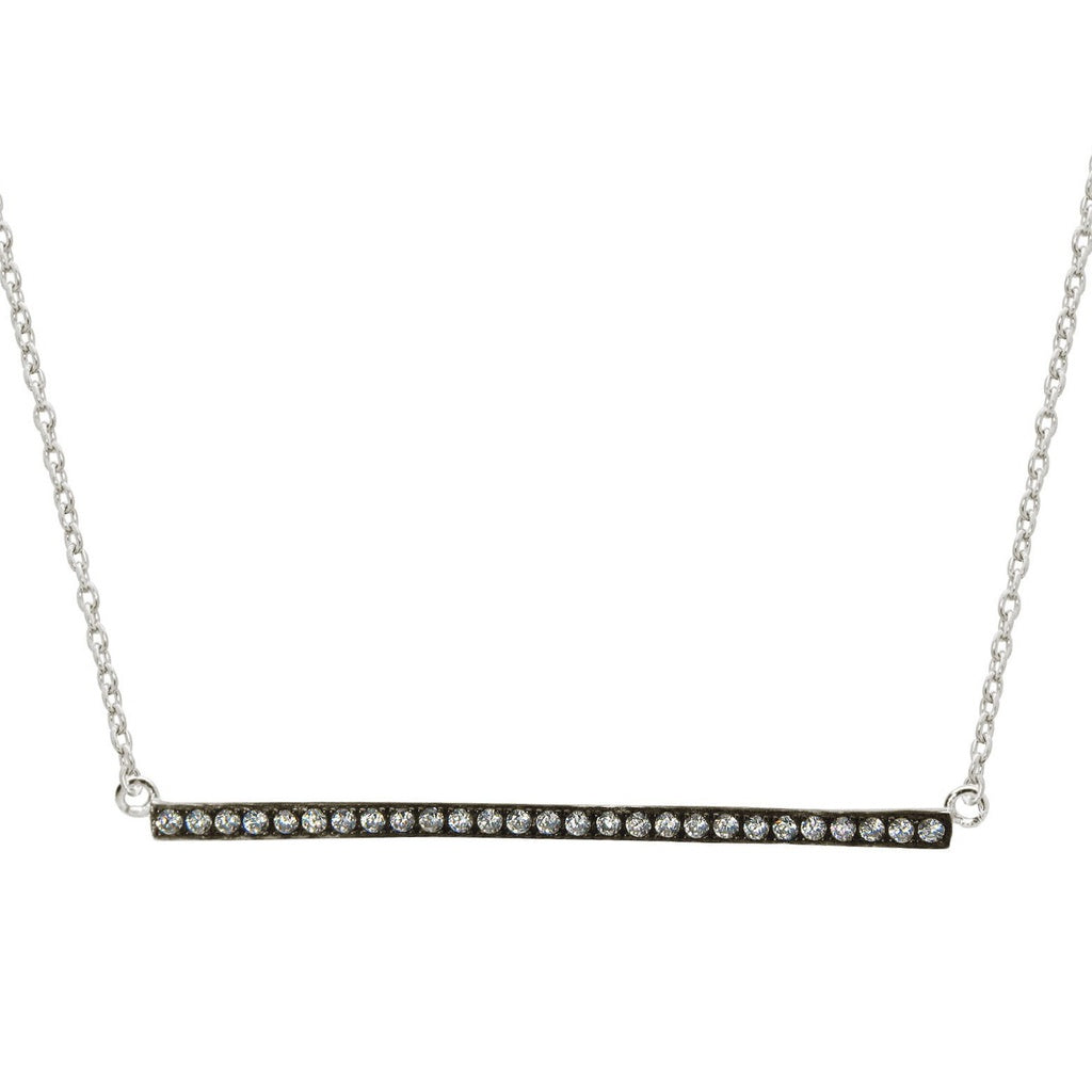 "Sideways Charcoal Bar Pendant Cubic Zirconia Stone Necklace, 16"" + 1"""