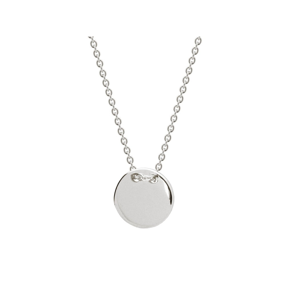 "Silver Rhodium Plated Engravable 10mm Disc Pendant 15.5""+ 1.5 ""Necklace"