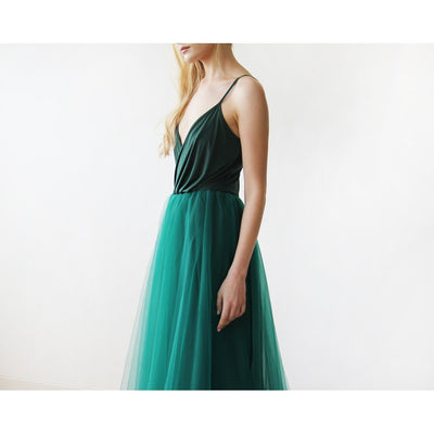 Emerald Green Straps Maxi Tulle Dress 1053