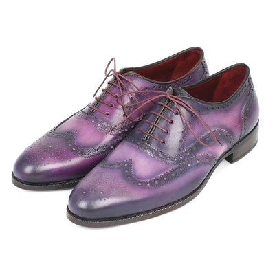 Paul Parkman Men's Wingtip Oxfords Purple & Navy Handpainted Calfskin (ID#743-PURP)