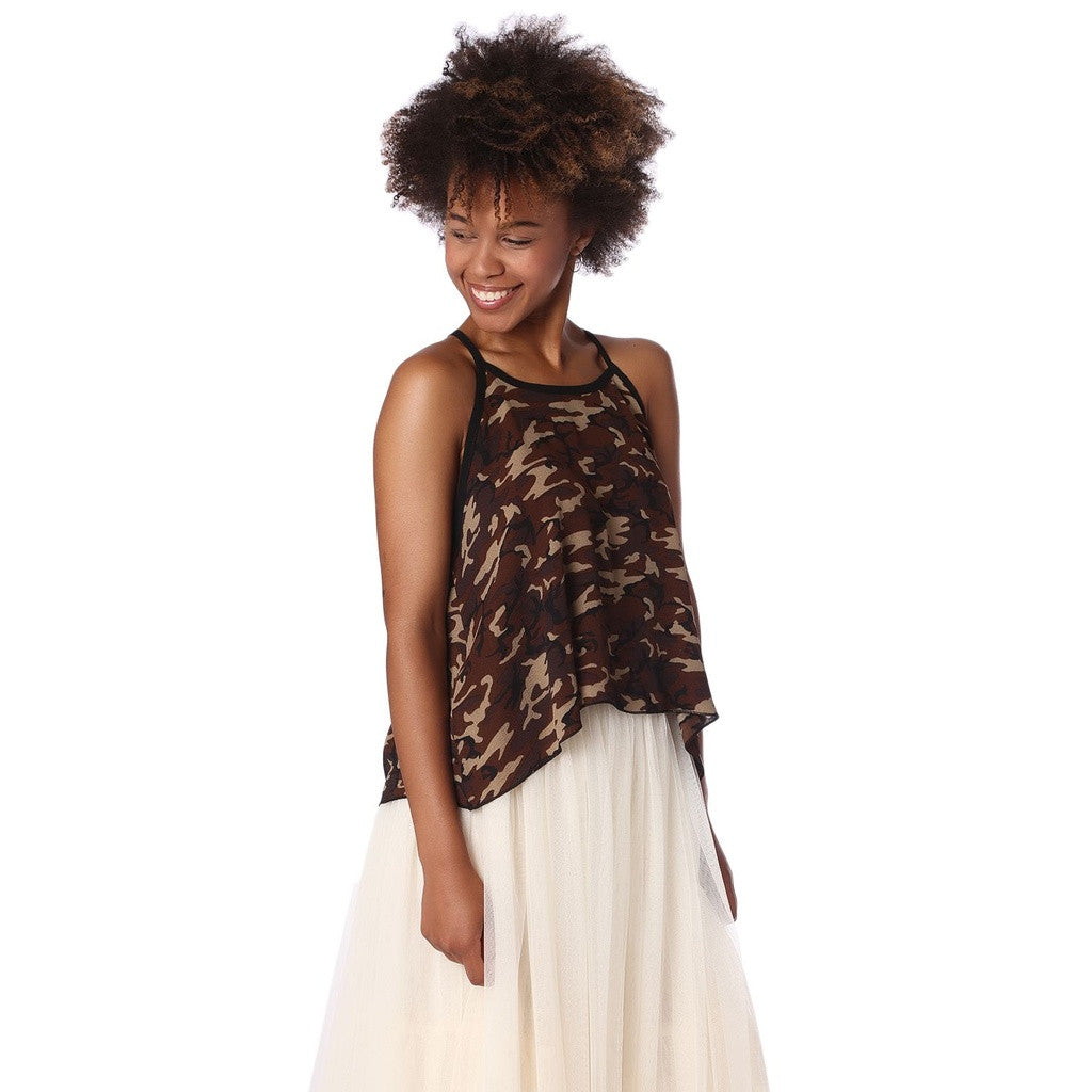 Brown camo print dip hem top
