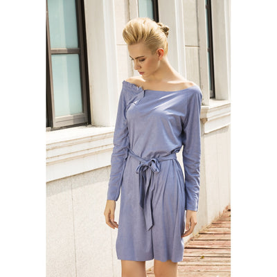 Cream marshmallow faux suede dress in Sky Blue