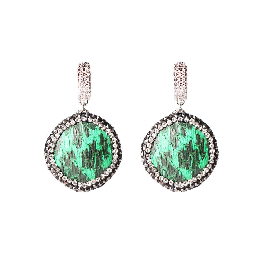 MAGNOLIA GREEN SNAKE SKIN PATTERN EARRINGS