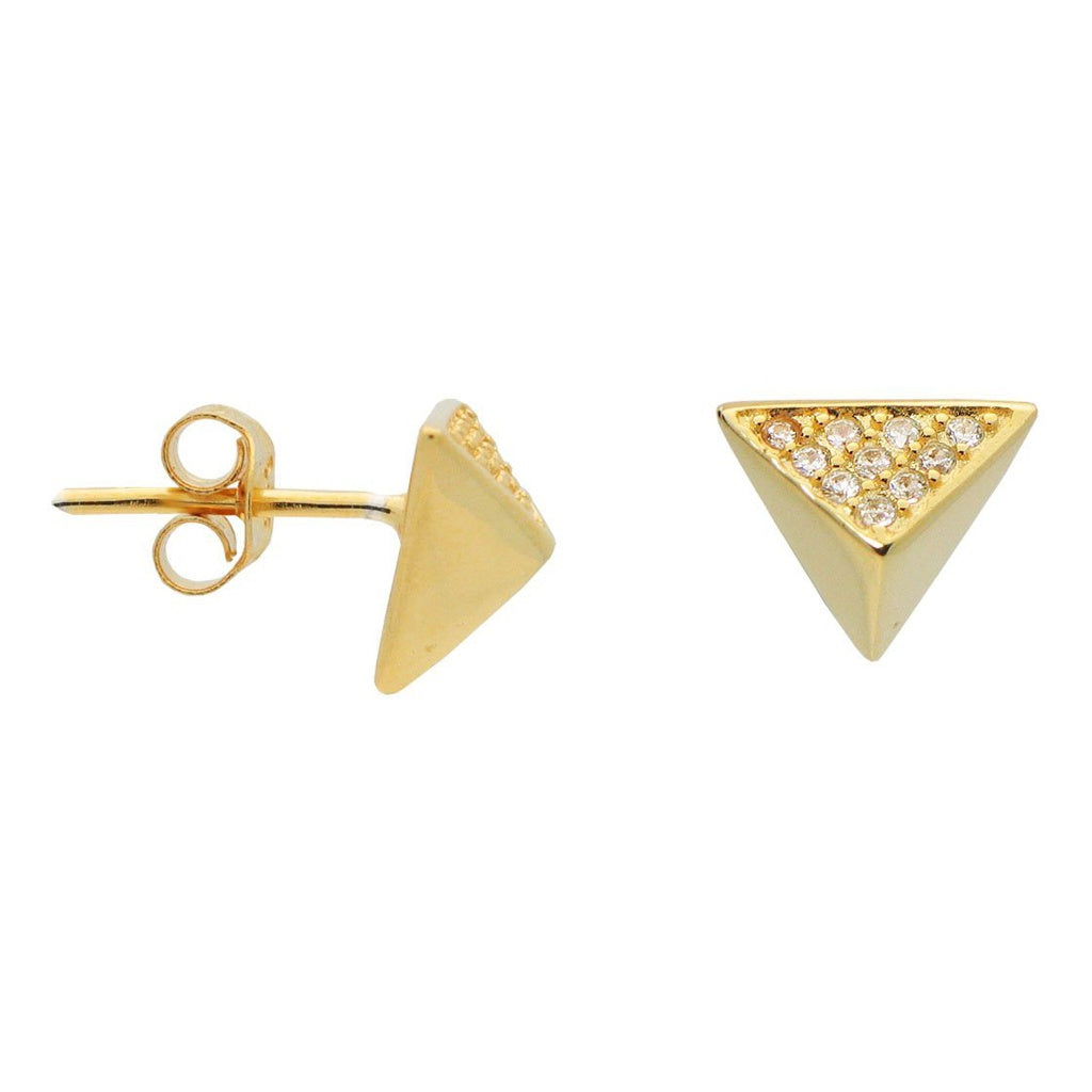Silver Gold Plated Triangle Pyramid Stud Earings Cz Side .9mm