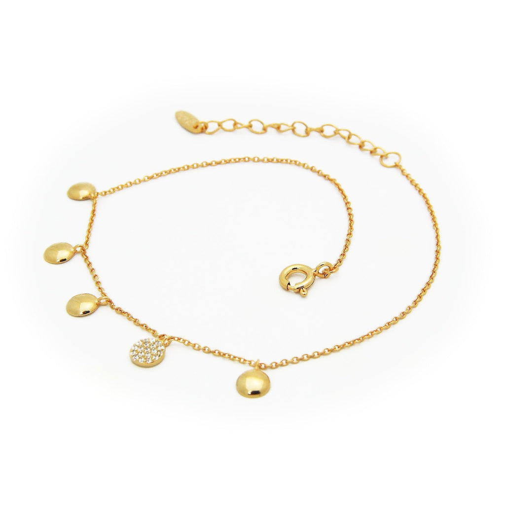 "Gold Plated Sterling Silver Mini Glimmering CZ Discs Anklet, 9"" + 1.5"" ext"