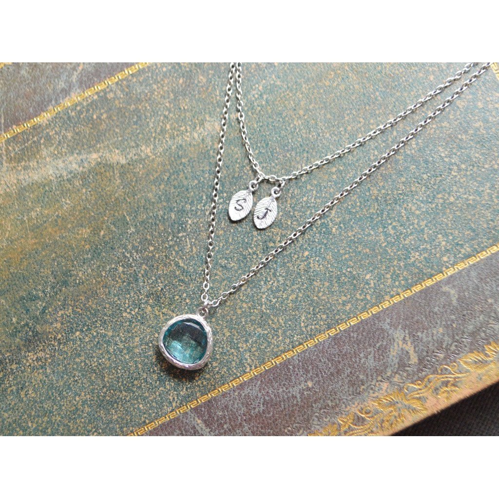 White gold layered aquamarine drop initial necklace