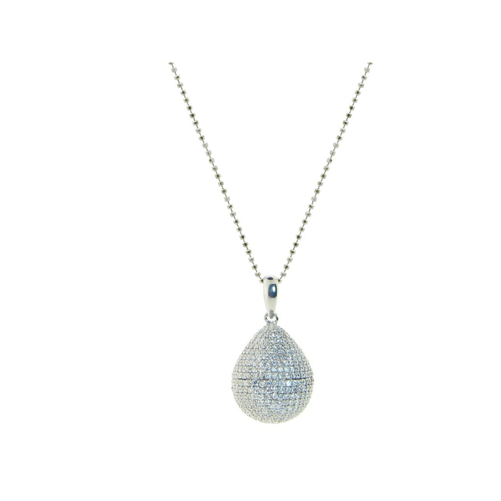 Platinum Plated Sterling Silver Micropave Cubic Zirconia Drop Pendant, 36""