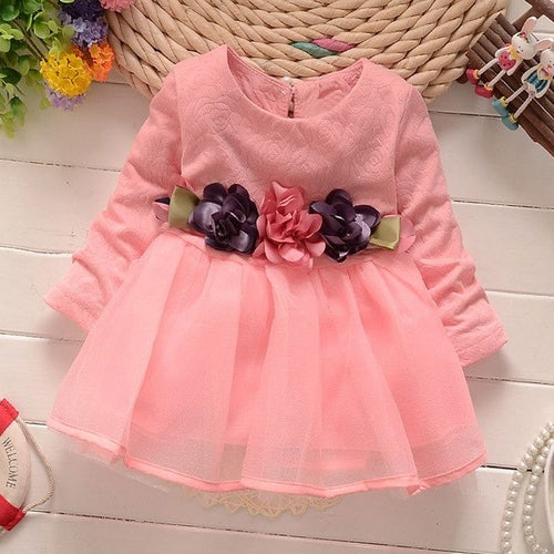 Girls Flowers Long Sleeve Polyester Dress Fashion