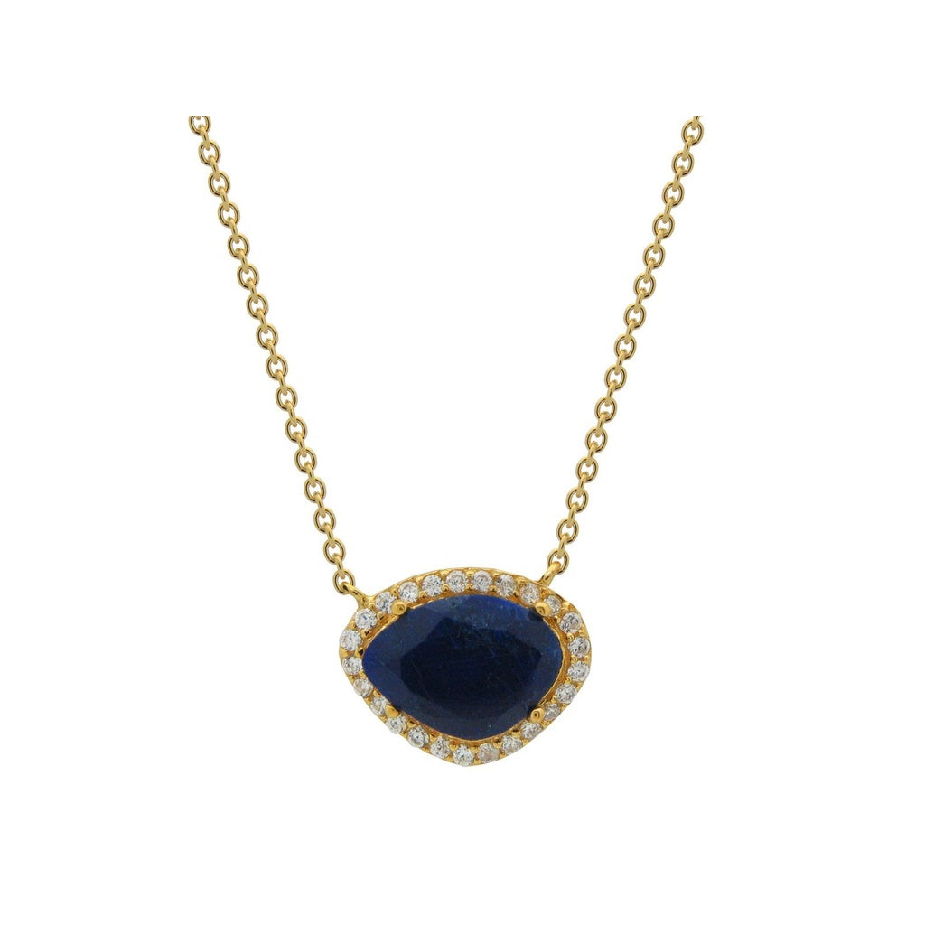 18k Gold Plated Sterling Silver Natural Sapphire Corundum & Cubic Zirconia Pendant Necklace, 15.5""
