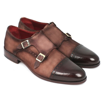 Paul Parkman Men's Double Monkstrap Captoe Dress Shoes - Brown / Beige Suede Upper and Leather Sole (ID#FK09)