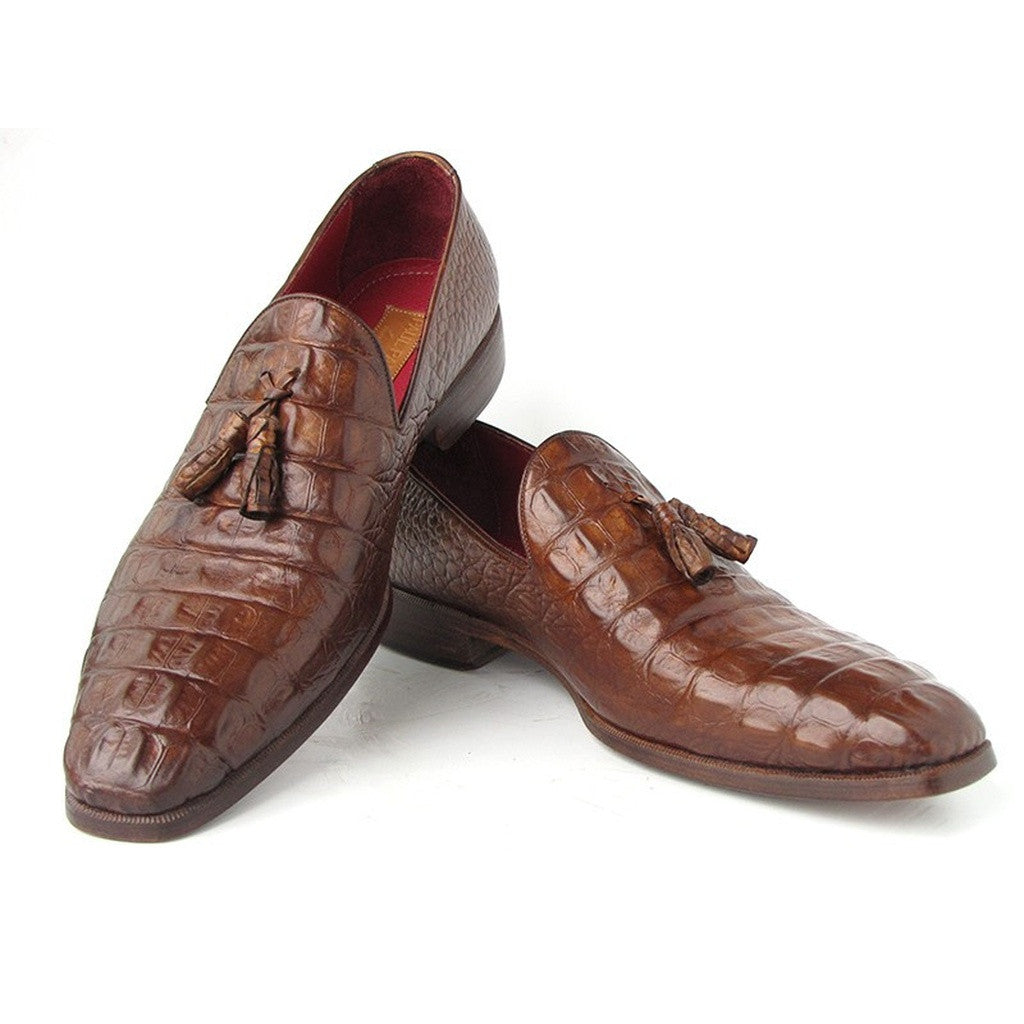 Paul Parkman Men's Brown Crocodile Embossed Calfskin Tassel Loafer (ID#PP2281-BRW)