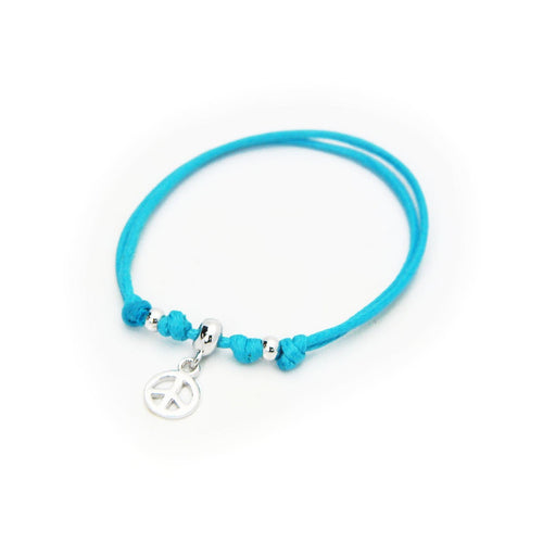BecKids Turquoise Cord Bracelet Silver Peace Sign Charm   Sterling Silver, Adjustable