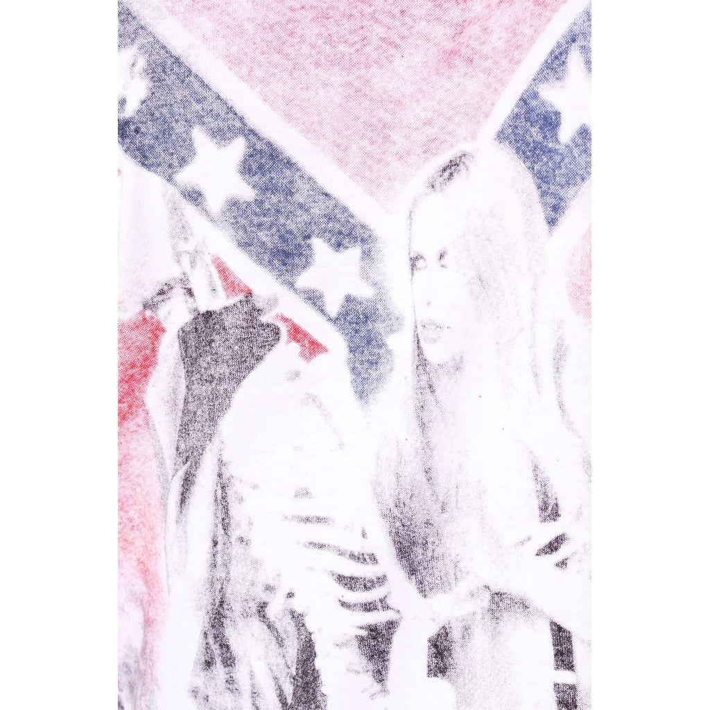 White vest with flag print