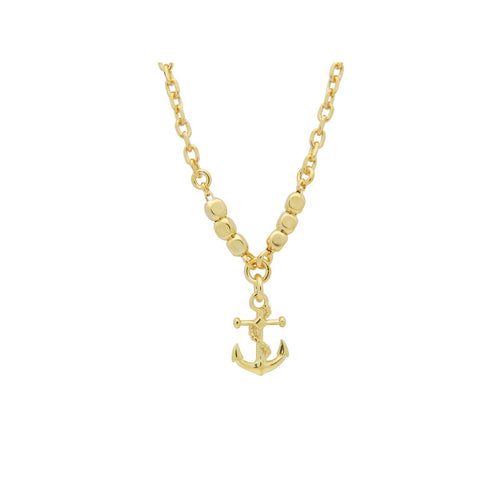 BecKids Italian Golden Anchor Charm Necklace for Boys, 16""