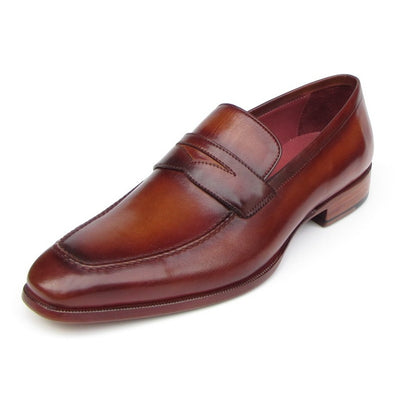 Paul Parkman Men's Penny Loafer Tobacco & Bordeaux  Shoes (ID#067-BRD)