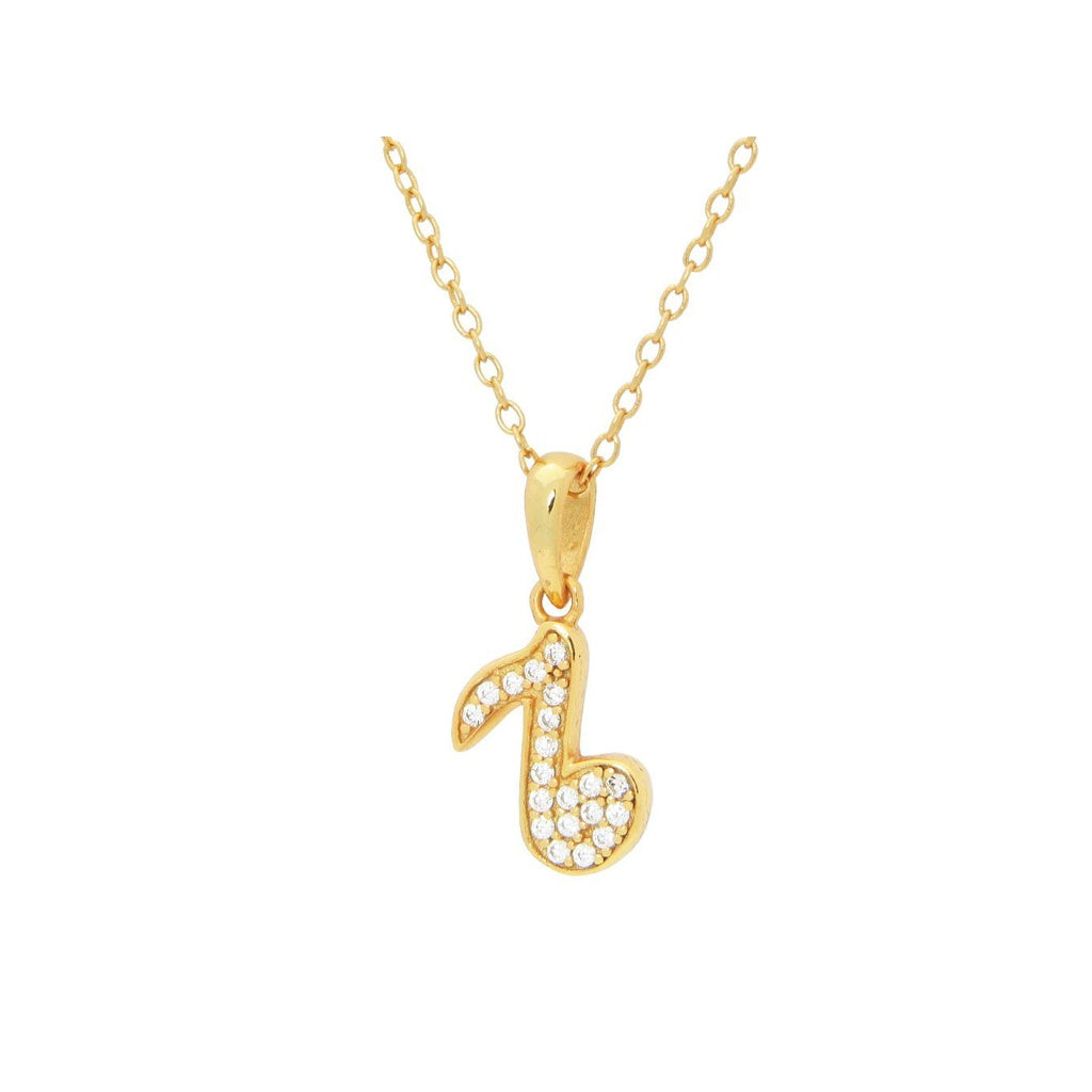 "Teens Sparkling Cz Corchea Pendant Necklace in Gold Plated Silver, 16"" + 2"""