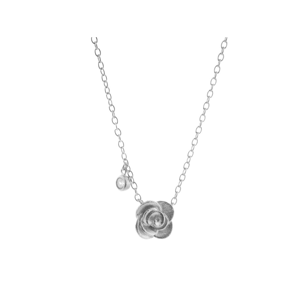 "Silver Rhodium Plated Rose Flower Pendant Necklace 16""+2"" & Cz Bezel Side"