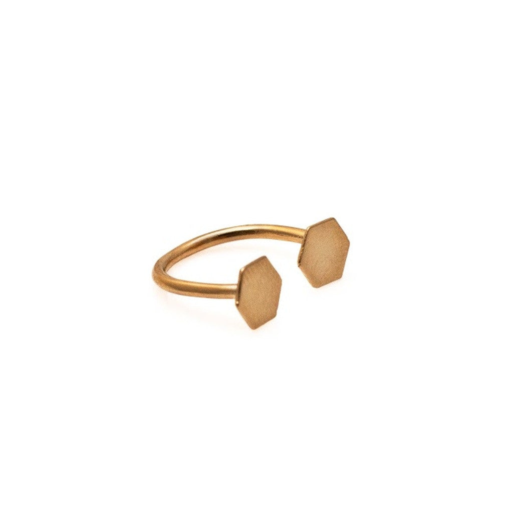 Open Hexagon Ring- Gold