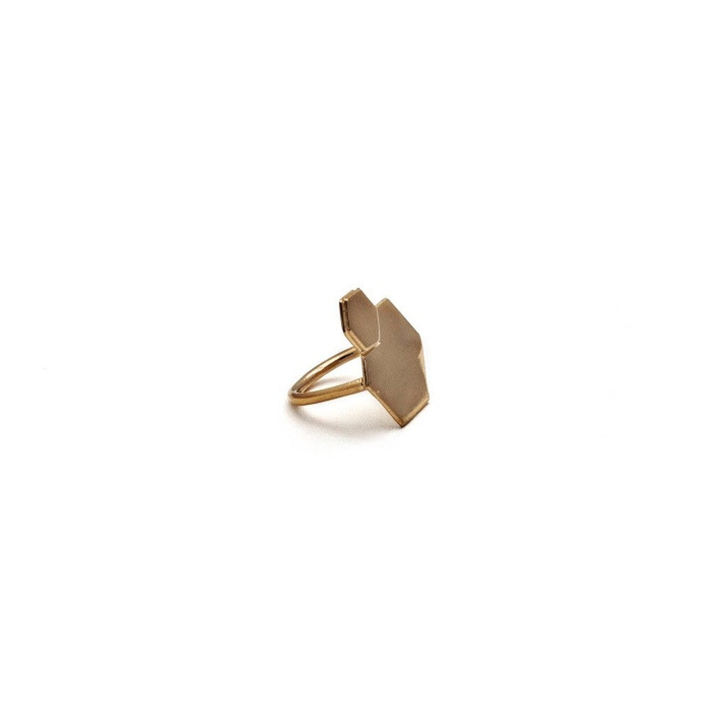 Double Hexagon Ring- Gold