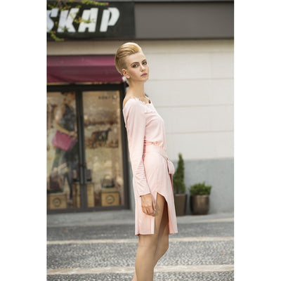Cream marshmallow faux suede dress in Rose Petal Pink