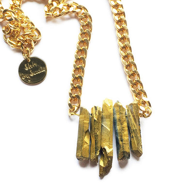 Rocked Up Mini Crystal Quartz Necklace (Gold)