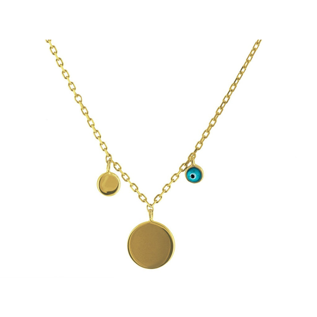 "Mikonos Engravable Gold Disc & Evil Eye Sterling Silver Chain Necklace, 15"" Long + 2"" Extender"