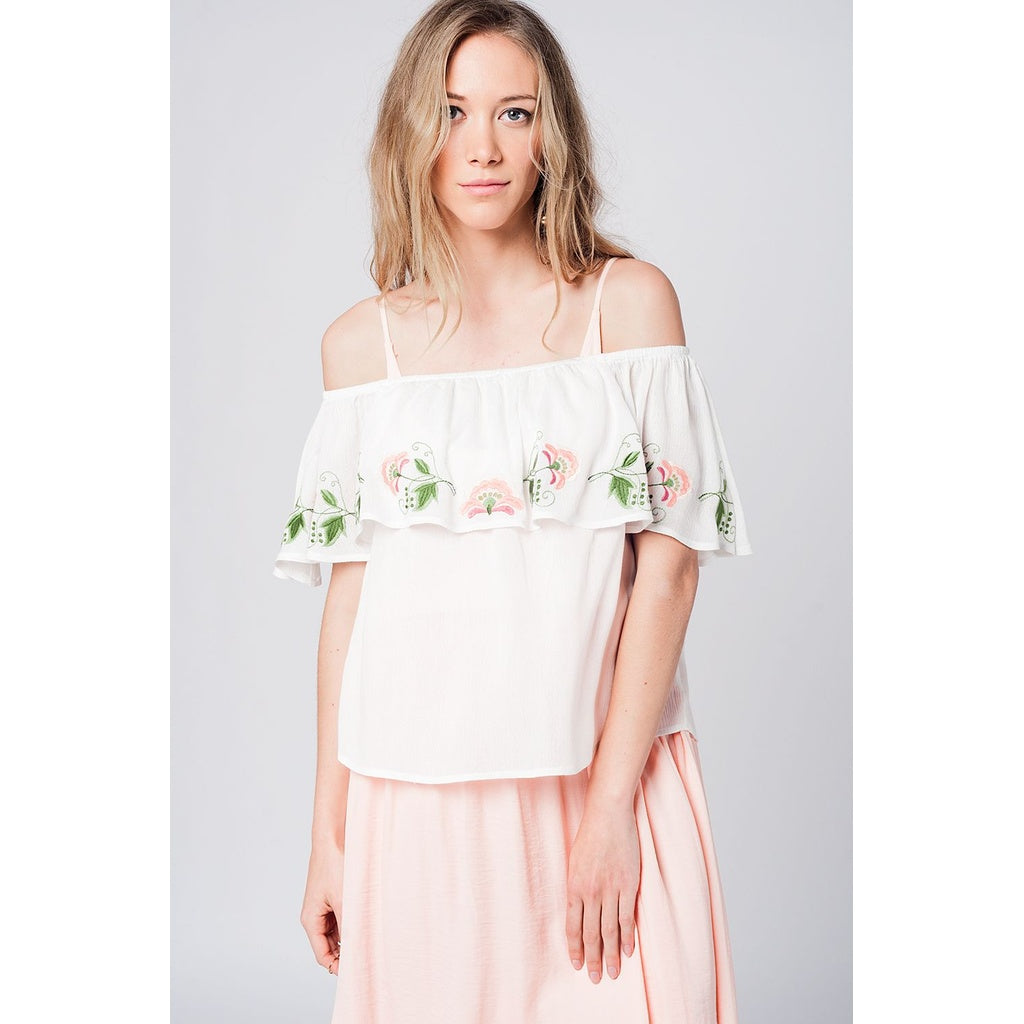 Off shoulder ruffle white blouse