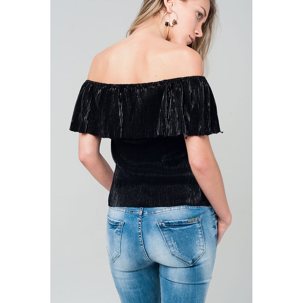 Off shoulder black top with ruffle